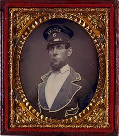 "ca. 1840-60, [daguerreotype portrait of a gentleman in uniform, wearing hat that reads ""DELUGE 6""] via the Library of Congress, ..."