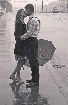 Yes! A kiss in the rain! But not by running out when it's raining... I want it to just happen :)