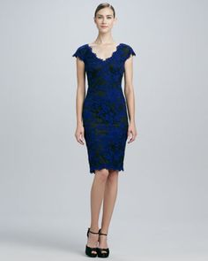 Embroidered Lace Cocktail Dress by Tadashi Shoji at Neiman Marcus.