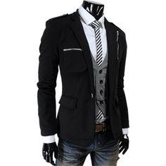 Men's Casual Zipper Point Slim Fit One Button Blazer Jacket
