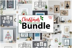 Christmas frames mockups. Perfect for Branding your creation or business. Frame mockups good to use for shop owners, artists, creative people, bloggers, who want to advertise or show their latest design!