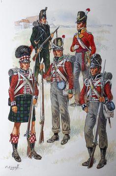 British infantry: far left: Highlander, top left: Rifles.