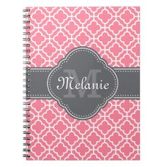 Light Pink Wht Moroccan Pattern Dark Gray Monogram Notebook - light gifts template style unique special diy