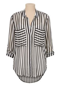 Relaxed Fit High-low Striped Chiffon Top, so cute with a colored Cami underneath Work Fashion, Fashion Outfits, Womens Fashion, Fashion Ideas, Affordable Plus Size Clothing, Women's Evening Dresses, Casual Chic Style, Clothing Items, Passion For Fashion