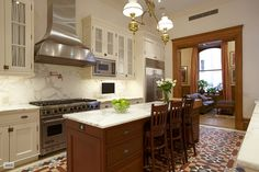 Lovely kitchen inside one of the apartments in the Dakota. Central Park West, New York City.