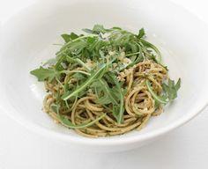 pasta with arugula pesto.