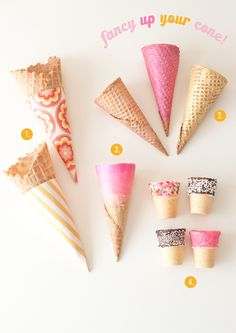 Don't serve a bare cone. How to add edible glitter, color and decor.