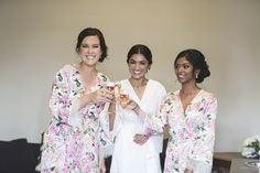 Our beautiful real homebodii bride and her lovely maids wearing the Zariah robe. #bridal #robes #wedding #florals #champagne