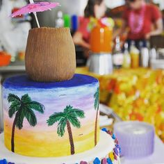 Had a great time at @cardinalspirits Tiki Brunch during @yelpindy 's Great Getaway to Bloomington yesterday! This is the top half of our special Tiki cake with a hand carved coconut drink topper  #tiki #brunch #paintedcake #island #cakes #cakeart #luau #luauparty #cakeartist #coconut #coconutdrink #iu #iub #cardinalspirits by sugarspice_imu