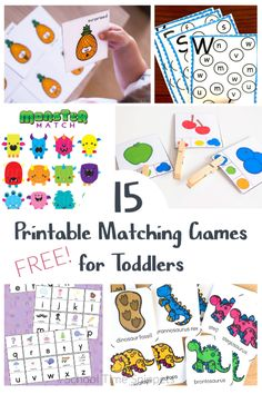 Foster this early learning skill with your toddler using these printable matching games.  Free, low-prep printables for you... endless fun for them! #freeprintable #toddlers #visualdiscrimination #matchinggames Name Activities, Hands On Activities, Early Learning, Learning Skills, Matching Games For Toddlers, Letter Matching Game, Emotions Cards, Shape Puzzles, Skills To Learn