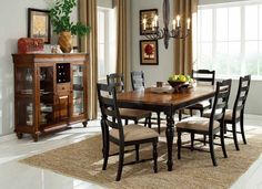 Mckean Dining Room Set: Dinnig Table, Side Chairs, Curio by Homelegance 2517 Black Dining Room Table, Dining Table In Kitchen, Dining Room Furniture, Table And Chairs, Dining Chairs, Dining Rooms, Refurbishing Furniture, Room Chairs, Furniture Ideas