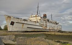 The Rise and Fall of Sealink Ferries by Ferry Crossings. Sealink Duke of Lancaster, Wales. The ferry was beached and sadly left to rust. Photo: flickr.com/photos/ben124/