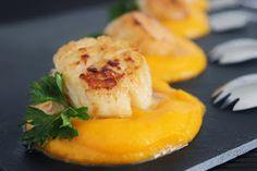 Varomeando: Vieiras sobre crema de calabaza Portobello, Fish And Seafood, Cantaloupe, Sushi, Dips, Sandwiches, Menu, Cooking Recipes, Fruit