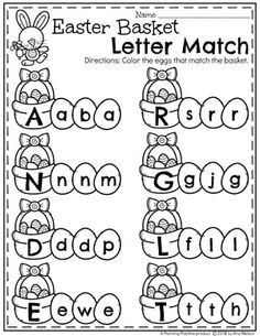 Looking for AWESOME Easter Worksheets and Activities for preschool? Work on the alphabet, counting, tracing, patterns and more in this awesome set of Easter fun. Easter Worksheets, Pre K Worksheets, Kindergarten Worksheets, Matching Worksheets, Handwriting Worksheets, Handwriting Practice, Pre K Activities, Alphabet Activities, Classroom Activities