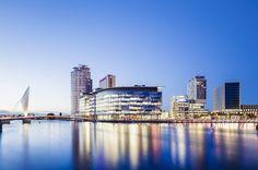 MediaCityUK by Chapman Taylor. #waterfrontaward #architecture #WANawards #Manchester #SalfordQuays #BBC