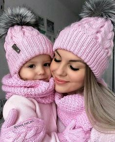 """Mommy and I are bundled up for winter."""