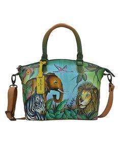 Loving this Anuschka Handbags African Adventure Hand-Painted Leather Satchel on #zulily! #zulilyfinds
