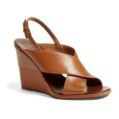 Tory Burch 'Gabrielle' Slingback Wedge ($350) ❤ liked on Polyvore featuring shoes, sandals, royal tan nappa, wedge heel shoes, tan wedge sandals, slingback sandals, sling back sandals and wedge slingback