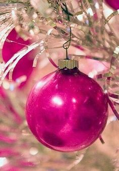One lone pink Christmas tree bulb. Merry Christmas, in pink.