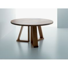 Solid tavolo rotondo in legno massiccio di Miniforms