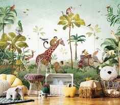 Jungle Baby Room, Jungle Theme Nursery, Jungle Bedroom, Baby Bedroom, Nursery Room, Boy Room, Kids Bedroom, Nursery Decor, Tropical Wallpaper