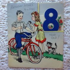 Vintage 1960s happy birthday 8 year old vintage birthday card b4a vintage greeting card girl boy on bicycle 8 year old card bookmarktalkfo Images