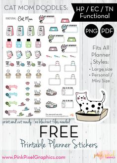 Here's a collection of free planner stickers just for you and your kitty. I've included ones for reminder to get cat food, clean the litter box, grooming, playtime and more. Sticker Organization, Planner Organization, Planner Pages, Planner Diy, Planner Ideas, Printable Planner Stickers, Free Planner Stickers Icons, Free Printables, Teacher Stickers