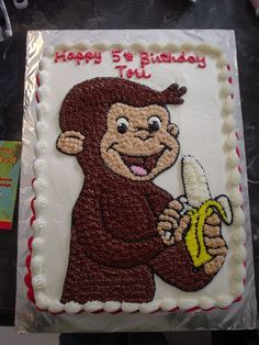 Curious George sheet cake