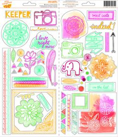 Amy Tangerine - Rise & Shine Collection - 6x12 Sticker Sheet - SharBearCrafts