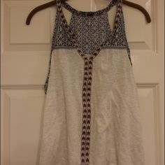 Tribal tank top V-neck burgundy white and blue tribal print crop top Poof! Tops Tank Tops