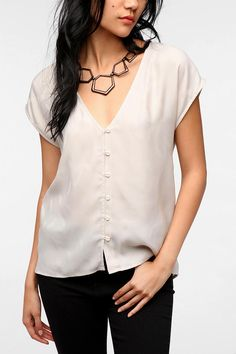 Pins and Needles Jacquard High/Low Blouse  #UrbanOutfitters