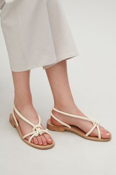 COS image 4 of Knotted strap sandals in Cream