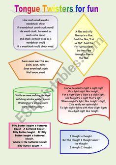 Tongue Twister for Fun - ESL worksheet by rtwosqu Tongue Twisters In English, Funny Tongue Twisters, Tongue Twisters For Kids, Teaching English Grammar, English Writing Skills, English Vocabulary, Fun Worksheets, Reading Worksheets, Toungue Twisters