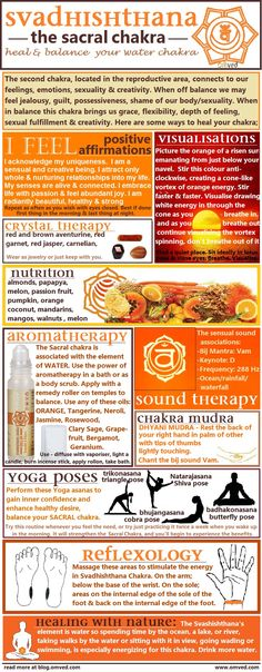 10 ways to Heal & Balance your chakras - There are many ways one can begin to balance their Sacral Chakra. Here are several useful methods, including aromatherapy, visualisations, affirmations, mudra, yoga poses, nutrition, reflexology color, nature and sound therapy!