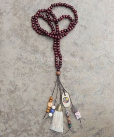 35 wood bead boho necklace with gemstones peace by BeadsByMelissa