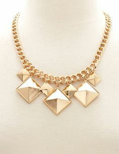 Dangling Pyramid Short Necklace: Charlotte Russe