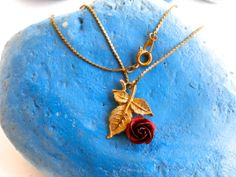 Red Rose Necklace  Goldtone Chain & Leaf Metallic by ReTainReUse, $12.00