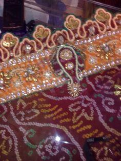 Kundan and Gota work on bandhej Zardozi Embroidery, Candles, Pearls, Birthday, Gold, Jewelry, Birthdays, Jewlery, Jewerly