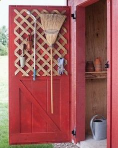 Organize Your Shed: For storing everyday garden and home tools, wood lattice is even handier than a basic trellis. Choose a heavy-duty variety, sold in sheets at hardware stores and lumberyards, and screw it onto a door using spacers. Then hang implements from S hooks, which fit snugly in the diamond framework. For items that cant be hung, attach broom clamps or suspend binder clips from hook. #homegardentools