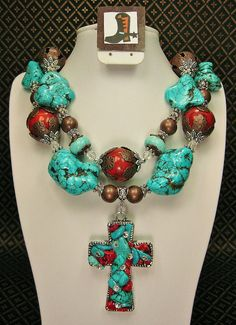 FABULOUS Southwestern cowgirl style necklace is handcrafted from large howlite turquoise nuggets and rondelles, large red sponge coral