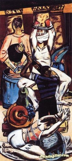 Departure (Triptych - Left Panel) Artwork by Max Beckmann Hand-painted and Art Prints on canvas for sale,you can custom the size and frame
