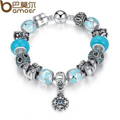 Authentic Silver Silver Plated BAMOER Top Quality Bear Flower Heart Blue Murano Beads Bracelet for Christmas Eve Gift PA1461