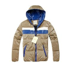 Men Moncler Jackets In Brown With Blue