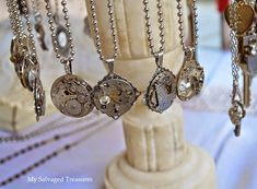 vintage watch parts necklaces