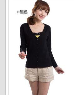 Amazon.co.jp: ファッション カーディガン風 シングルボタン Vネック ブラック JP-PY12091806-7: 服&ファッション小物通販