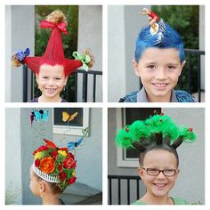 DIY Kids Halloween or Dress Up Hairstyles from Bee in Our Bonnet here.The upper left one is created by wrapping hair around styrofoam cones and the lower right one ismade by wrapping hair around a rollers. For lots more ideas and tips go to the link.