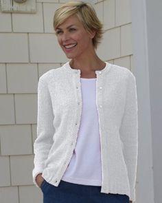 National Boucle Cardigan Sweater, White, 1X National. $44.95