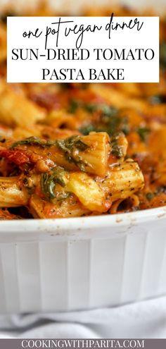 Vegan Pasta Bake, Tomato Pasta Bake, Pasta Bake Recipes, Veggie Pasta Recipes, Sundried Tomato Pasta, Cabbage Recipes, Tasty Vegetarian Recipes, Vegan Dinner Recipes, Healthy Recipes