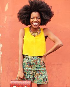 Fashionista Freddie Harrel - Topshop yellow #mustard top, Zara shorts #naturalhair