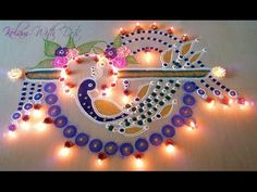 Beautiful Peacock Rangoli Designs With Colours - Festival and Competition Rangoli By Maya! - YouTube